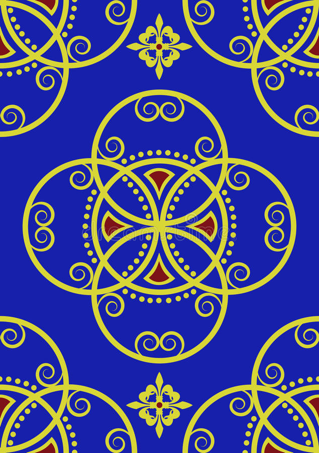 Gold auf königliches Blau-reichem nahtlosem Muster stock abbildung