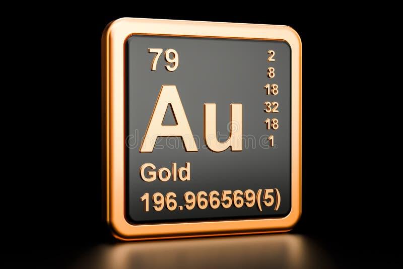 Gold aurum Au chemical element. 3D rendering royalty free illustration
