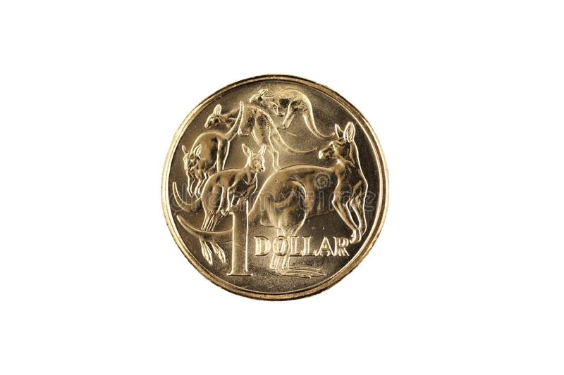 A gold Australian one dollar coin isolated on white royalty free stock photography