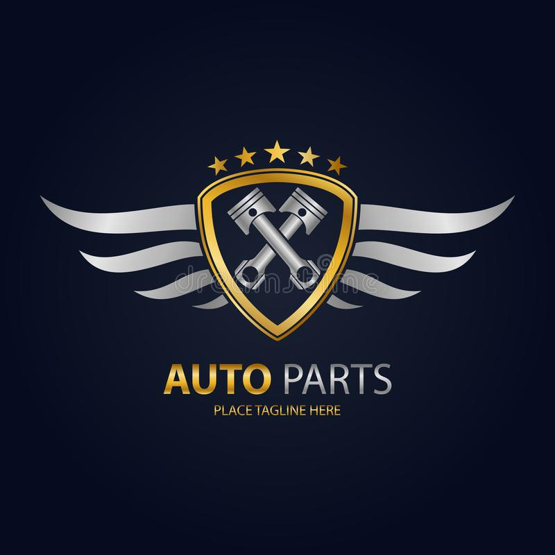 Gold automotive shield with silver wings icon royalty free illustration