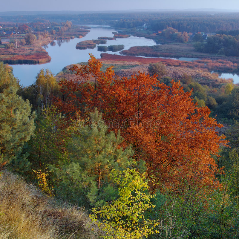 Gold autumn. Kind on the river of Ros'. Beginning of October. Ukraine royalty free stock photos