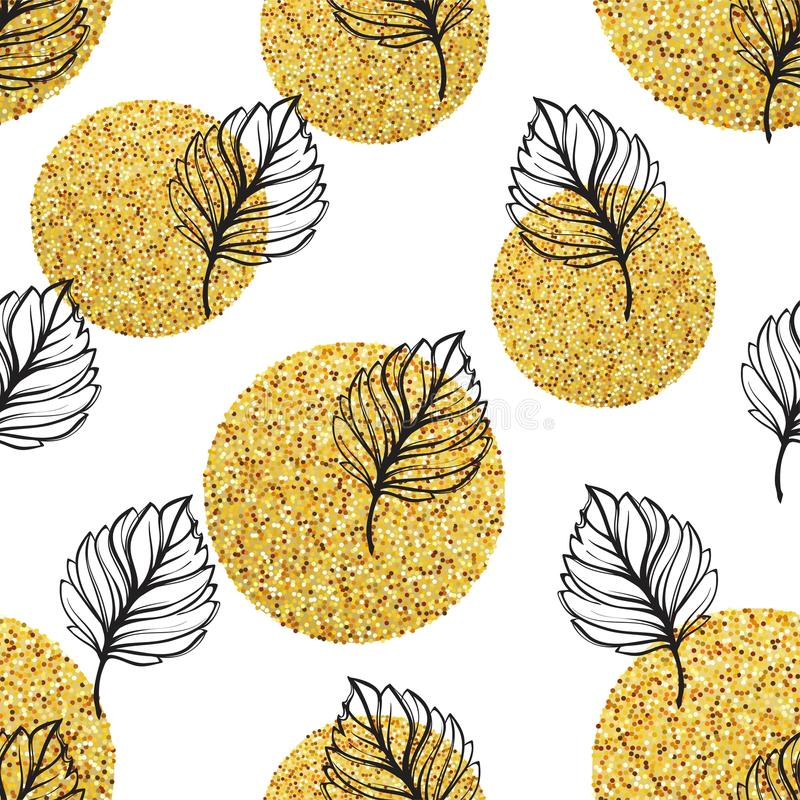 Gold autumn floral background. Glitter textured seamless pattern with fall golden and black leaf. Vector illustration royalty free illustration