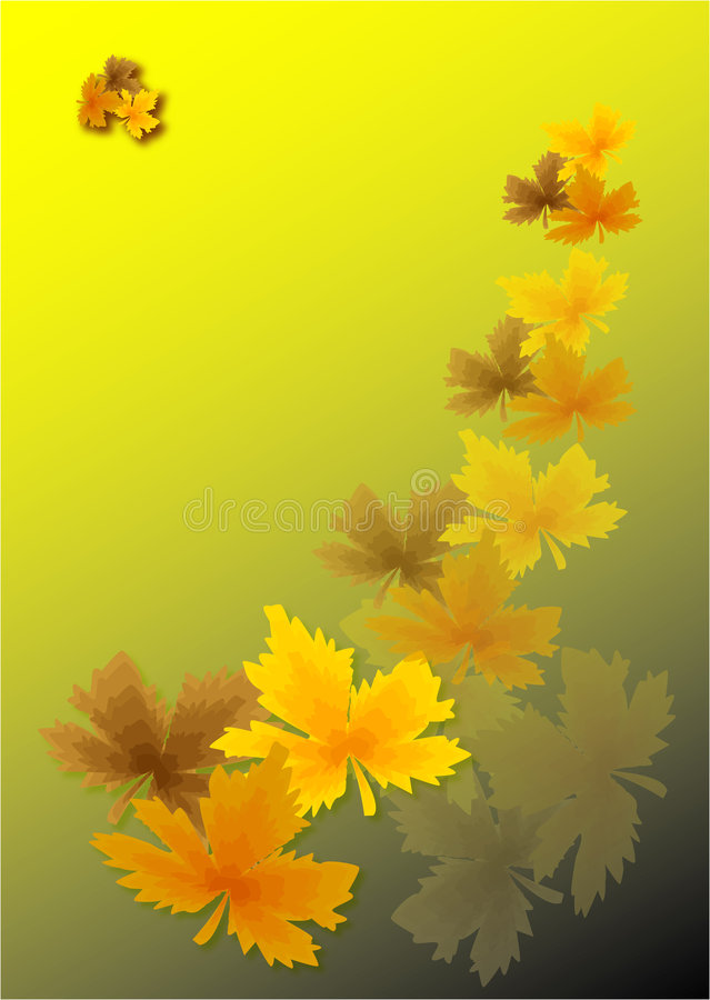 Gold autumn leaves royalty free illustration