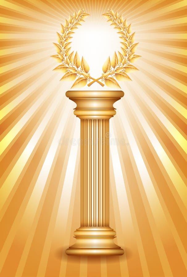 Gold Award Column With Laurel Wreath Stock Image - Image ...