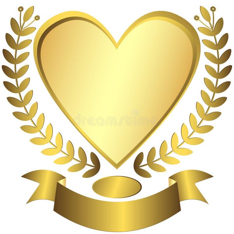 Gold award-heart with ribbon (vector) royalty free illustration