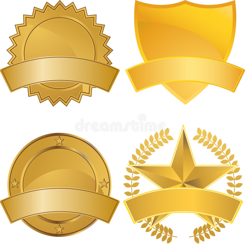 Gold Award Medals. Set of gold award medals with space for text vector illustration