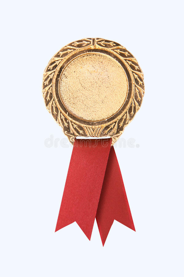 Gold award ribbons. Blank gold award ribbons on white(path in side royalty free stock photos