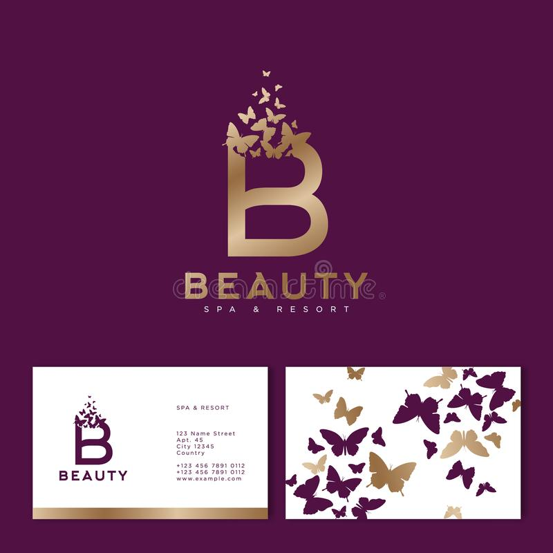 Gold B letter with flying butterflies. Beauty logo. dentity. Business Card. Gold B letter with flying butterflies. Beauty logo. Emblem for Spa, Cosmetics stock illustration