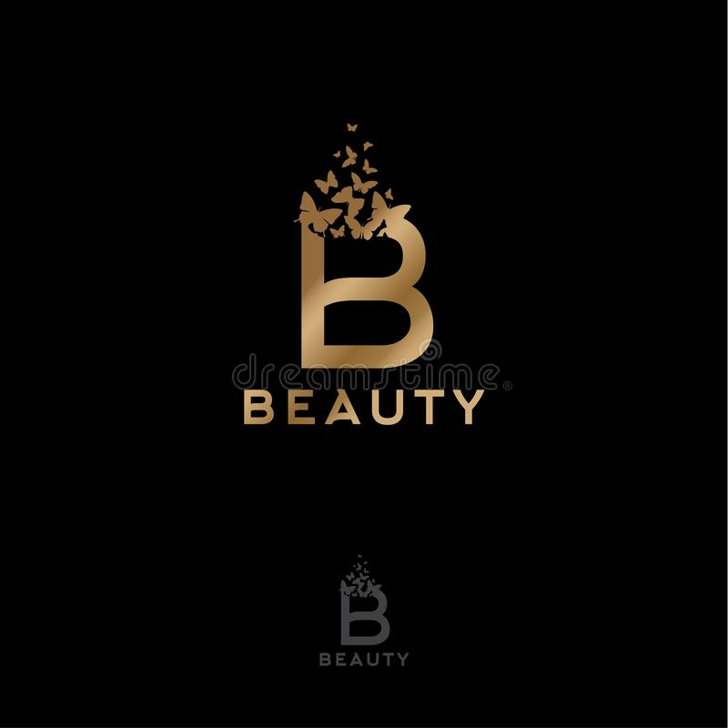 Gold B letter with flying butterflies. Beauty logo. Monochrome option. Gold B letter with flying butterflies. Beauty logo. Emblem for Spa, Cosmetics, Fashion royalty free illustration
