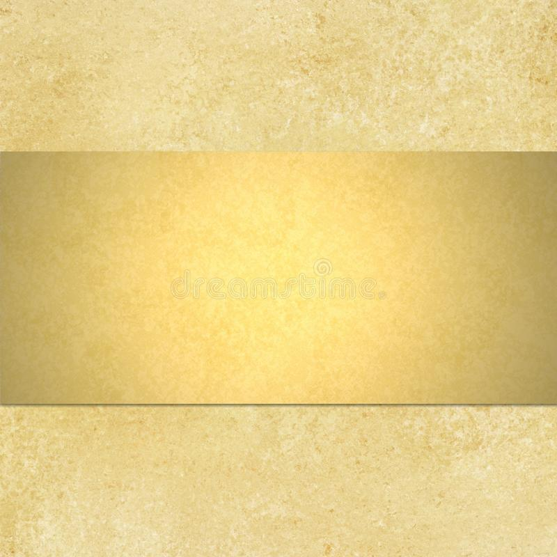 Gold background with blank shiny golden ribbon lay. Abstract gold background yellow warm colors with sponge vintage grunge background texture, distressed rough