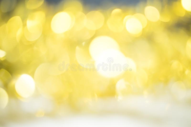 Gold background Bokeh of beautiful lights. On Christmas royalty free stock images