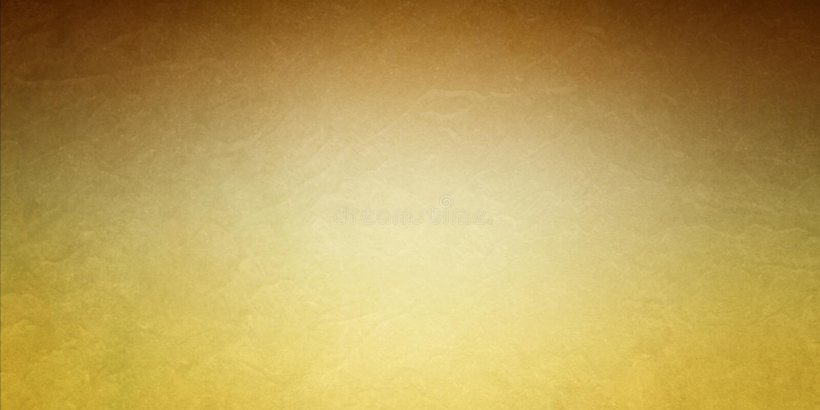 Gold background with brown border and bright center with old vintage texture royalty free illustration