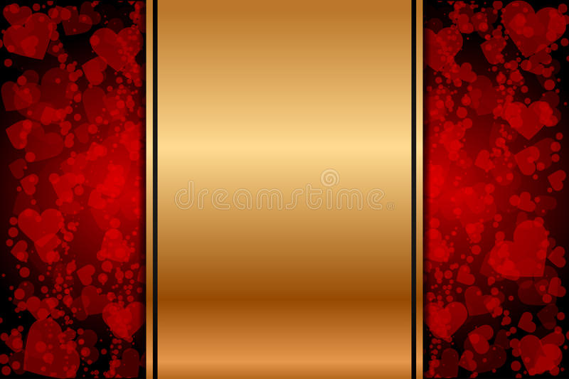 Download Gold Background With Red Hearts Stock Vector - Image: 28952504