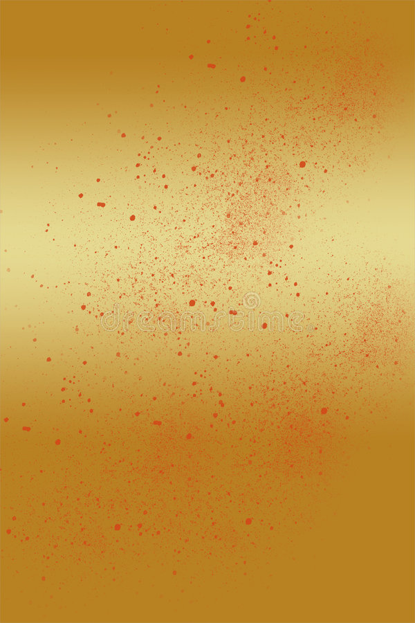 Gold Background Red Paint Splatter stock image