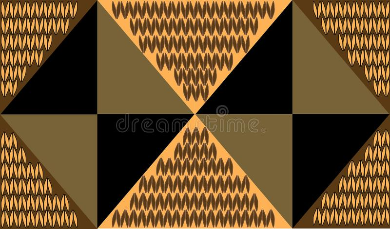 Gold background from triangles with knitting decor stock images