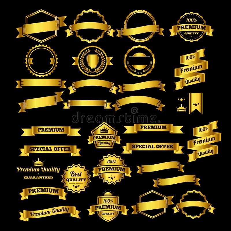 Luxury gold design badges and labels collection - logo design Vector. Isolated on black background vector illustration