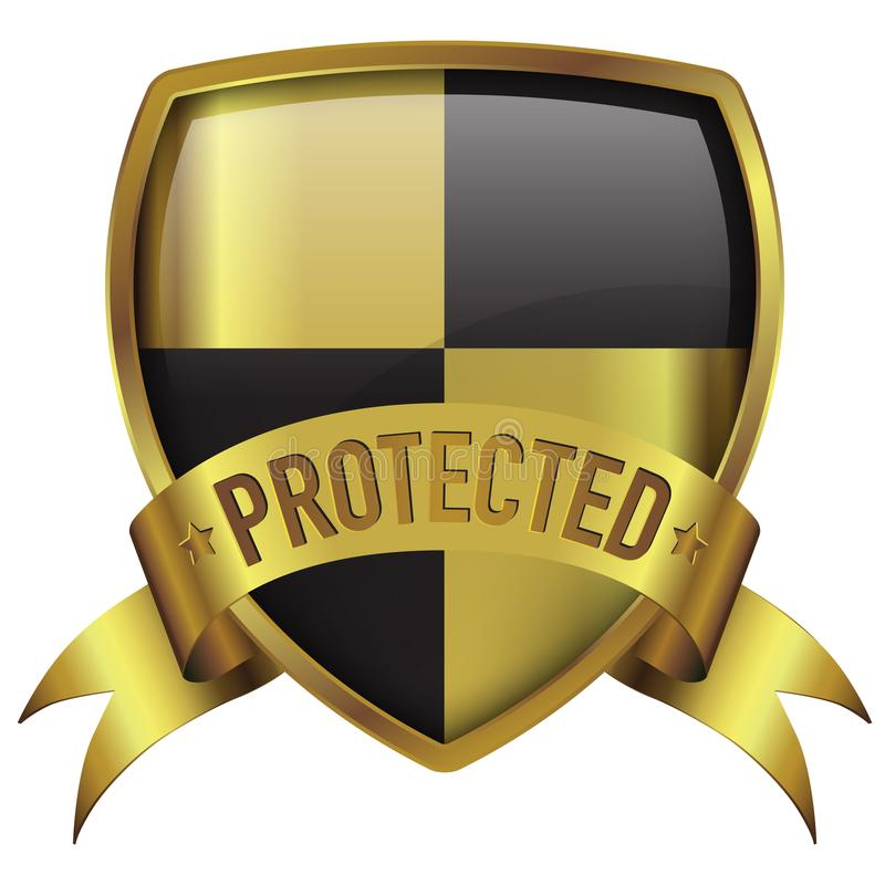 Gold badge protected icon with ribbon royalty free stock photos