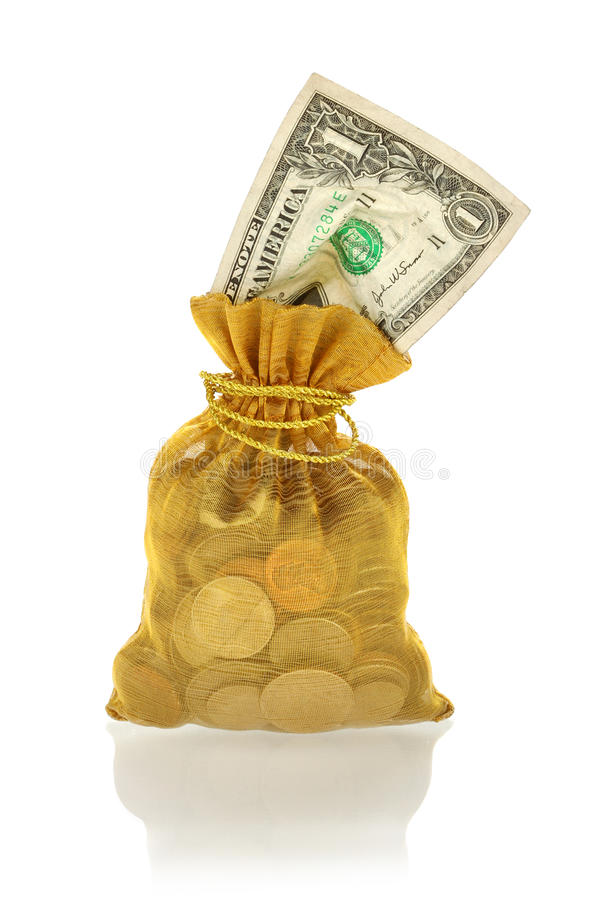 Gold Bag with Money of Coins and One Dollar. Gold Bag with Money, Coins and One Dollar Isolated on White stock photography