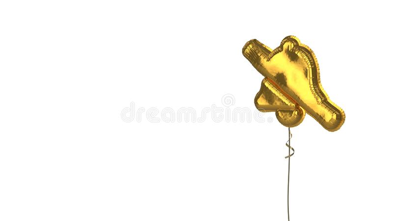 gold balloon symbol of bell slash on white background royalty free illustration