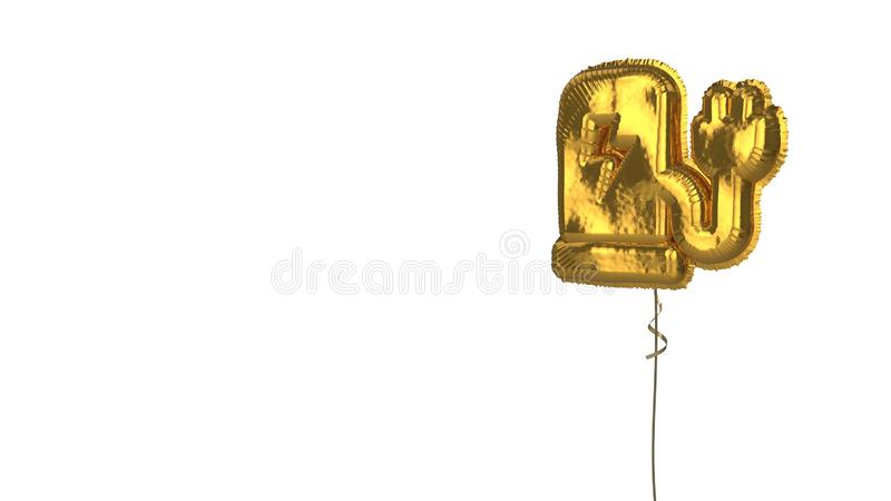 Gold balloon symbol of charging station on white background. 3d rendering of gold balloon shaped as symbol of charging station with flash symbol isolated on royalty free illustration