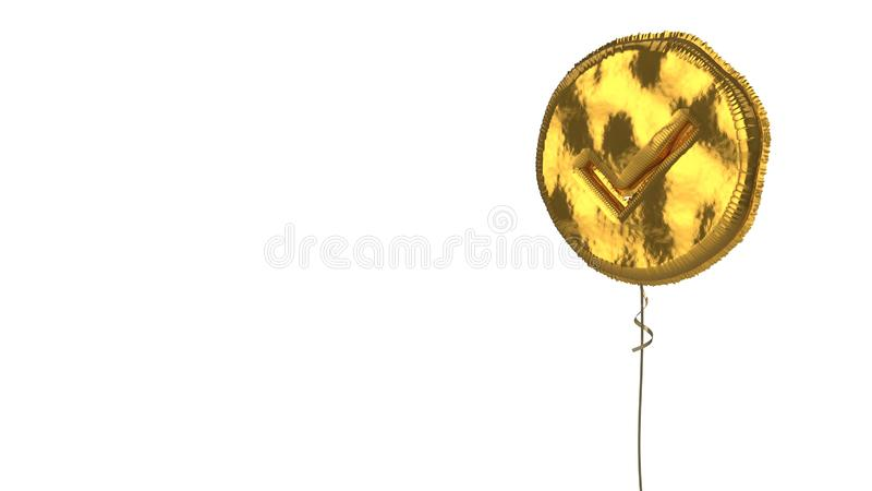 Gold balloon symbol of check circle on white background. 3d rendering of gold balloon shaped as symbol of check mark in circle isolated on white background with royalty free illustration