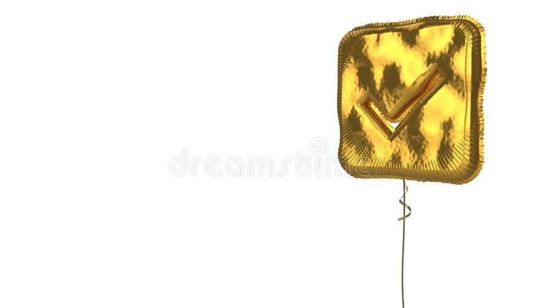 Gold balloon symbol of check square on white background. 3d rendering of gold balloon shaped as symbol of check mark in rounded square isolated on white vector illustration