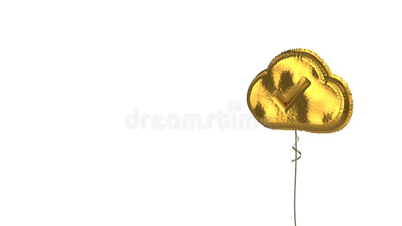 Gold balloon symbol of check on white background. 3d rendering of gold balloon shaped as symbol of check mark in cloud isolated on white background with ribbon royalty free illustration