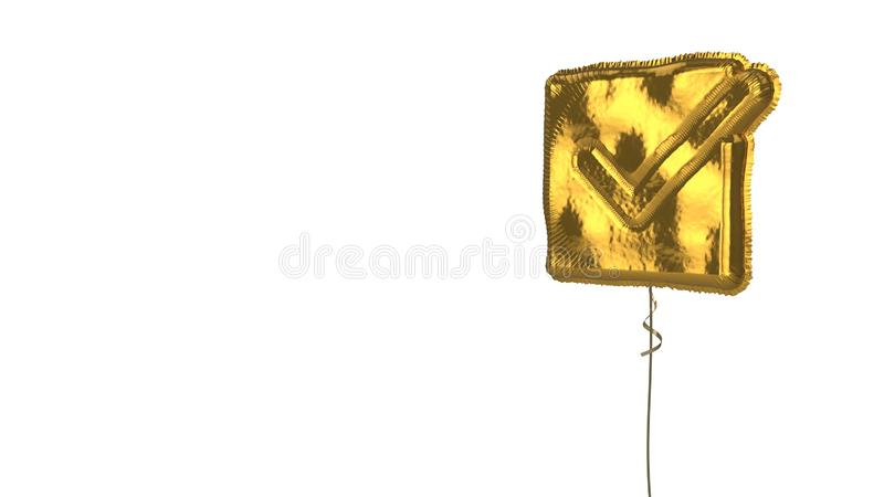 Gold balloon symbol of checked  on white background. 3d rendering of gold balloon shaped as symbol of check mark in square isolated on white background with stock illustration