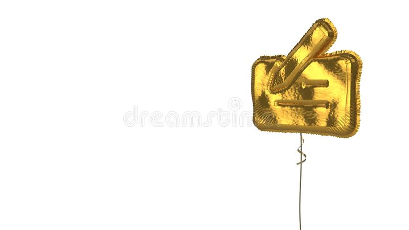 Gold balloon symbol of cheque on white background. 3d rendering of gold balloon shaped as symbol of bank cheque with pen isolated on white background with ribbon vector illustration