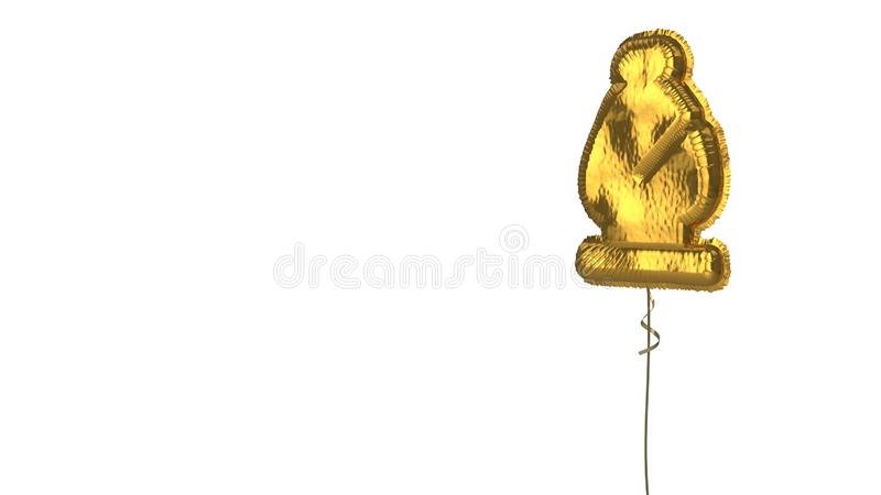 Gold balloon symbol of chess bishop on white background. 3d rendering of gold balloon shaped as symbol of chess bishop figure isolated on white background with vector illustration