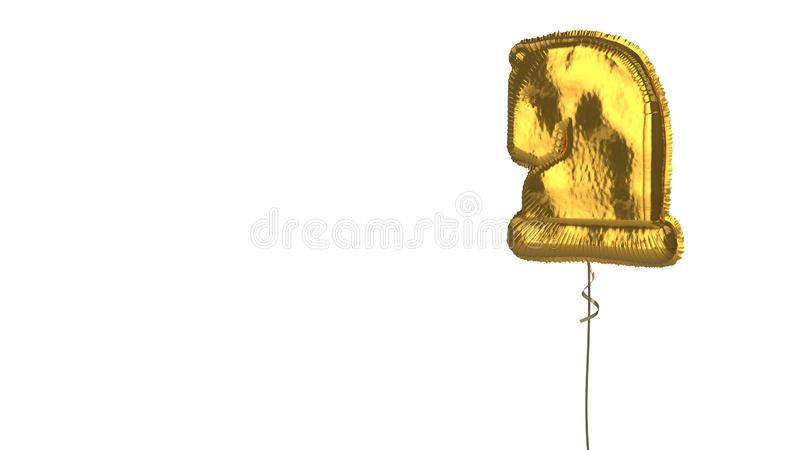 Gold balloon symbol of chess knight on white background. 3d rendering of gold balloon shaped as symbol of chess knight figure isolated on white background with royalty free illustration