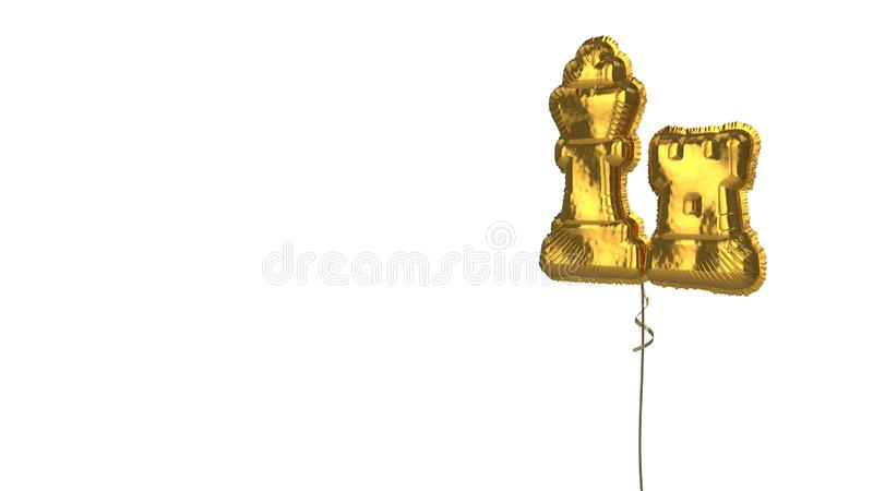 Gold balloon symbol of chess on white background. 3d rendering of gold balloon shaped as symbol of chess king and rook figures isolated on white background with royalty free illustration