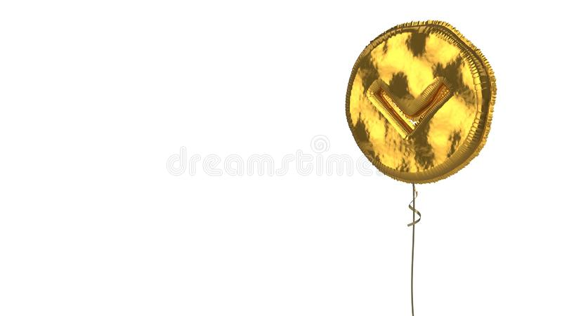 Gold balloon symbol of chevron circle down on white background. 3d rendering of gold balloon shaped as symbol of down chevron in circle isolated on white royalty free illustration