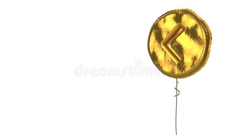 Gold balloon symbol of chevron circle left on white background. 3d rendering of gold balloon shaped as symbol of left chevron in circle isolated on white stock illustration