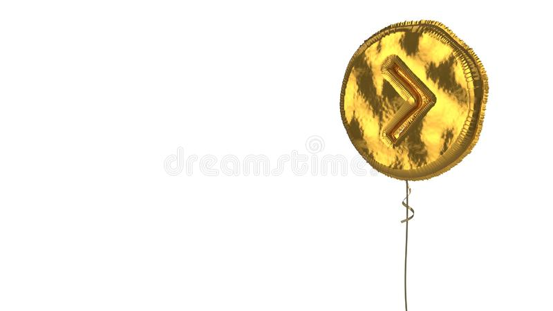 Gold balloon symbol of chevron circle right on white background. 3d rendering of gold balloon shaped as symbol of right chevron in circle isolated on white vector illustration