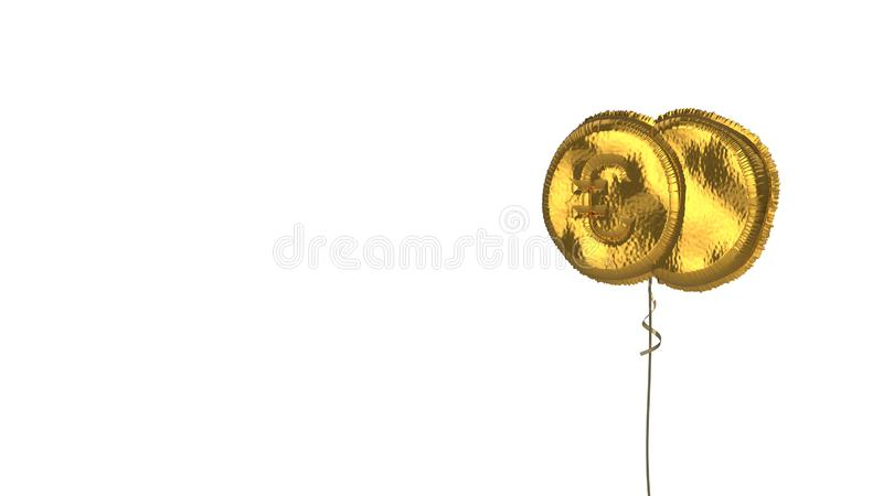 Gold balloon symbol of euro  on white background. 3d rendering of gold balloon shaped as symbol of two euro coins isolated on white background with ribbon royalty free illustration