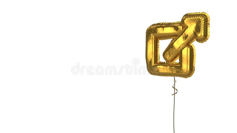 Gold balloon symbol of external link  on white background. 3d rendering of gold balloon shaped as symbol of square with up arrow isolated on white background stock illustration