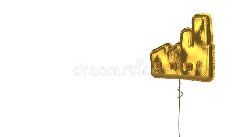 Gold balloon symbol of factory  on white background. 3d rendering of gold balloon shaped as symbol of factory building isolated on white background with ribbon vector illustration