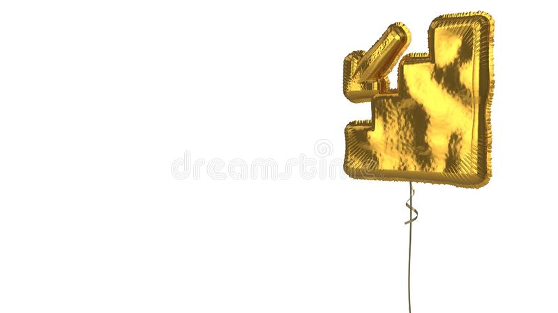 Gold balloon symbol of fallen on white background. 3d rendering of gold balloon shaped as symbol of stairs with down arrow isolated on white background with stock illustration