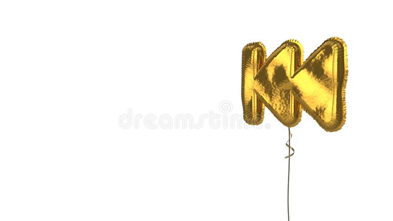 Gold balloon symbol of fast backward on white background. 3d rendering of gold balloon shaped as symbol of fast backward symbol isolated on white background with vector illustration
