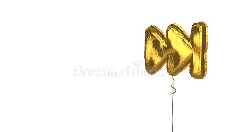 Gold balloon symbol of fast forward on white background. 3d rendering of gold balloon shaped as symbol of fast forward symbol isolated on white background with stock illustration