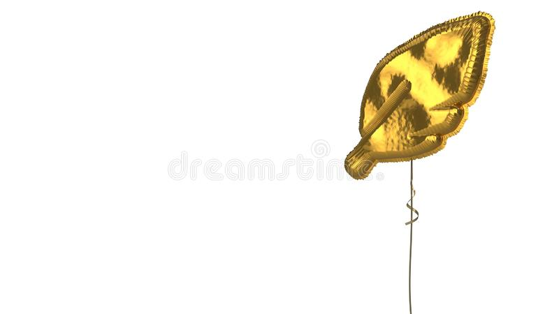 Gold balloon symbol of feather  on white background. 3d rendering of gold balloon shaped as symbol of sharpen feather  isolated on white background with ribbon stock illustration