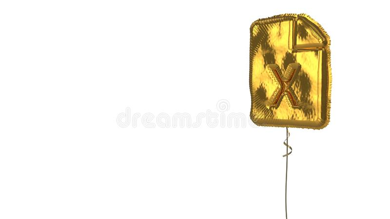 Gold balloon symbol of file excel on white background. 3d rendering of gold balloon shaped as symbol of paper with bent corner and x letter isolated on white vector illustration