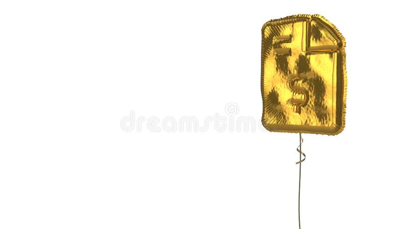 Gold balloon symbol of file invoice dollar on white background. 3d rendering of gold balloon shaped as symbol of paper with bent corner and dollar symbol stock illustration