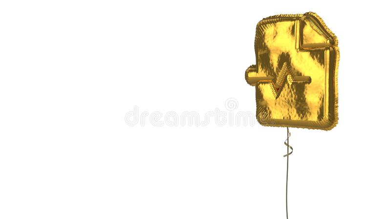 Gold balloon symbol of file medical on white background. 3d rendering of gold balloon shaped as symbol of paper with bent corner and heart pulse curve isolated vector illustration