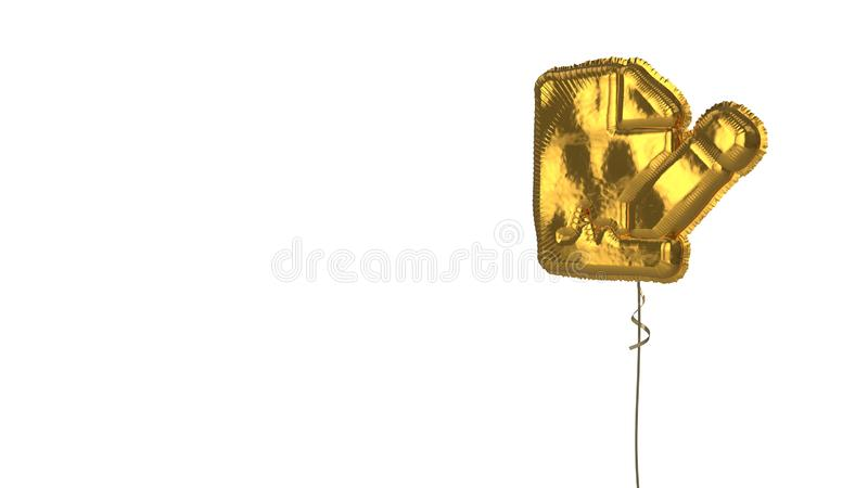 Gold balloon symbol of file signature on white background. 3d rendering of gold balloon shaped as symbol of paper with bent corner and signature and pen isolated vector illustration