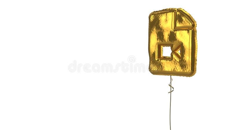 Gold balloon symbol of file video on white background. 3d rendering of gold balloon shaped as symbol of paper with bent corner and camera isolated on white vector illustration