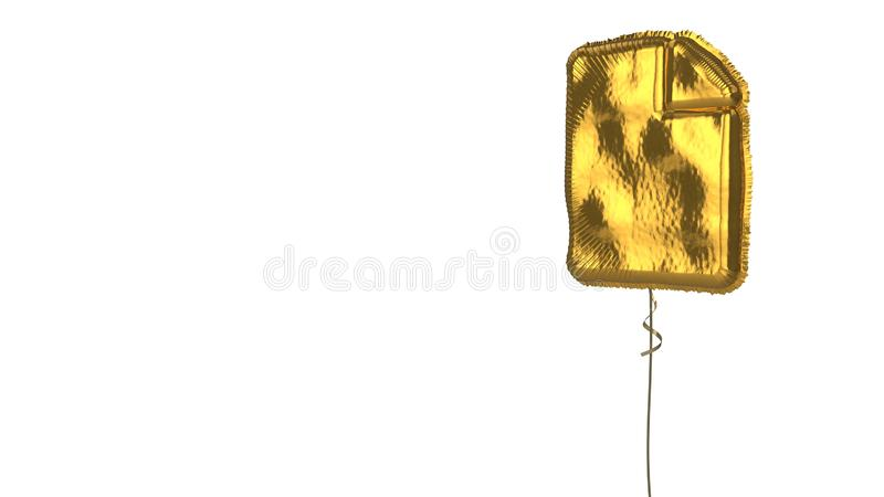 Gold balloon symbol of file on white background. 3d rendering of gold balloon shaped as symbol of piece of paper with bent corner isolated on white background royalty free illustration