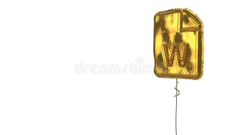 Gold balloon symbol of file word on white background. 3d rendering of gold balloon shaped as symbol of paper with bent corner and w letter isolated on white stock illustration