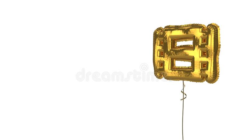 Gold balloon symbol of film on white background. 3d rendering of gold balloon shaped as symbol of film strip isolated on white background with ribbon stock illustration